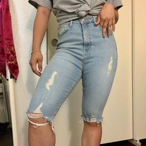 Forever 21 Light Wash Denim Bermuda